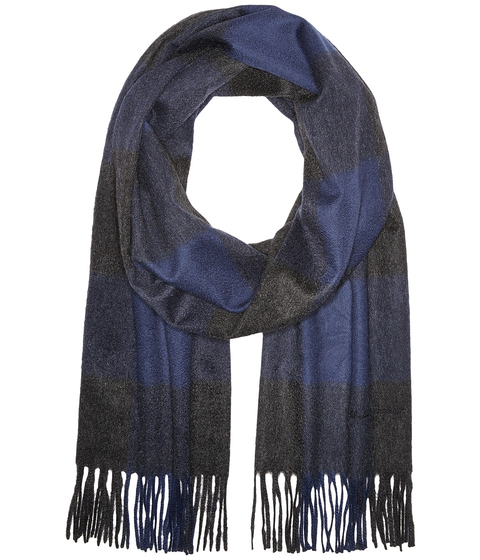 Salvatore Ferragamo - Overcheck Scarf - 526561 (Blue/Anthracite) Scarves