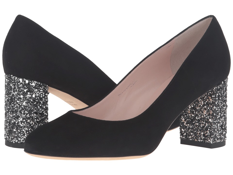 Kate Spade New York Anastasia Black Kid Suede-Glitter Heel High Heels