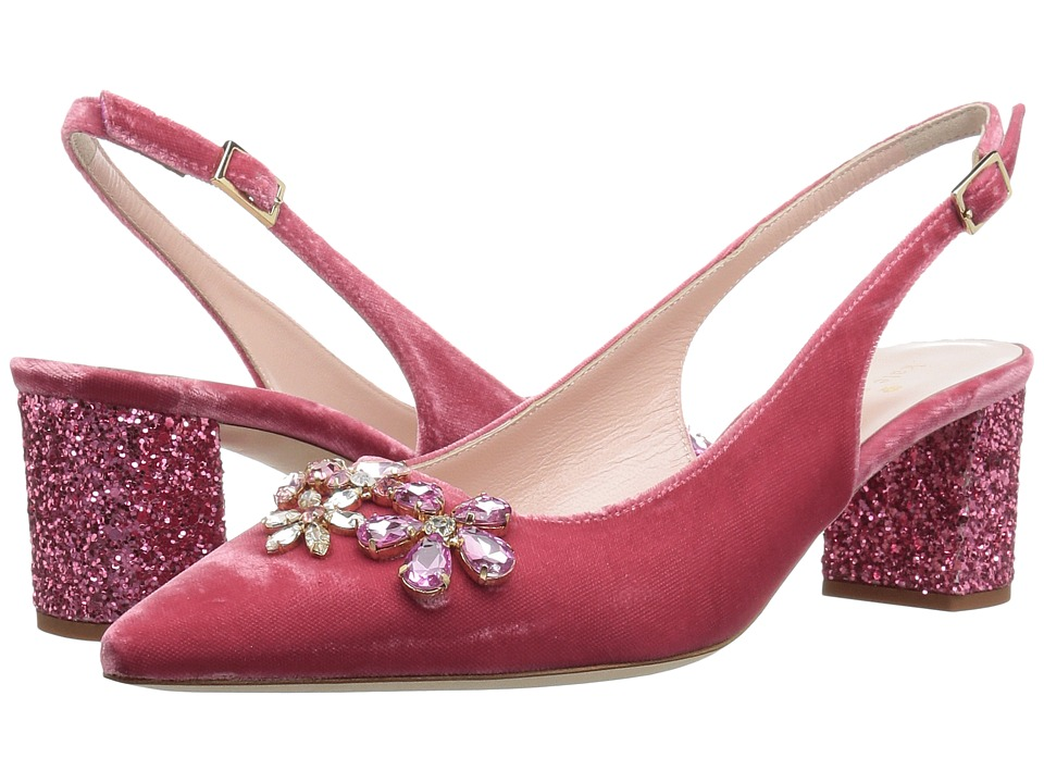 Kate Spade New York - Montana (Antique Rose Velvet/Pink Glitter Heel) Women's Slip-on Dress Shoes