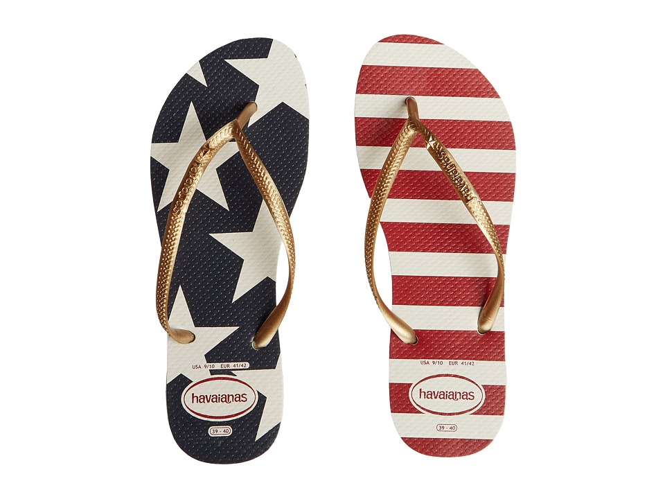 Havaianas - Slim Stars and Stripes Sandal (White/Navy) Women's Sandals