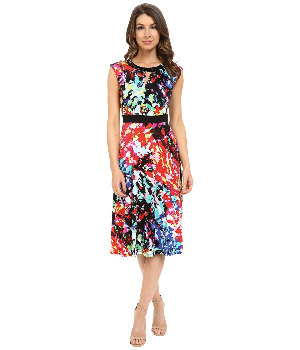 London Times - Splash Medley Fit and Flare (Multi) Women's Dress