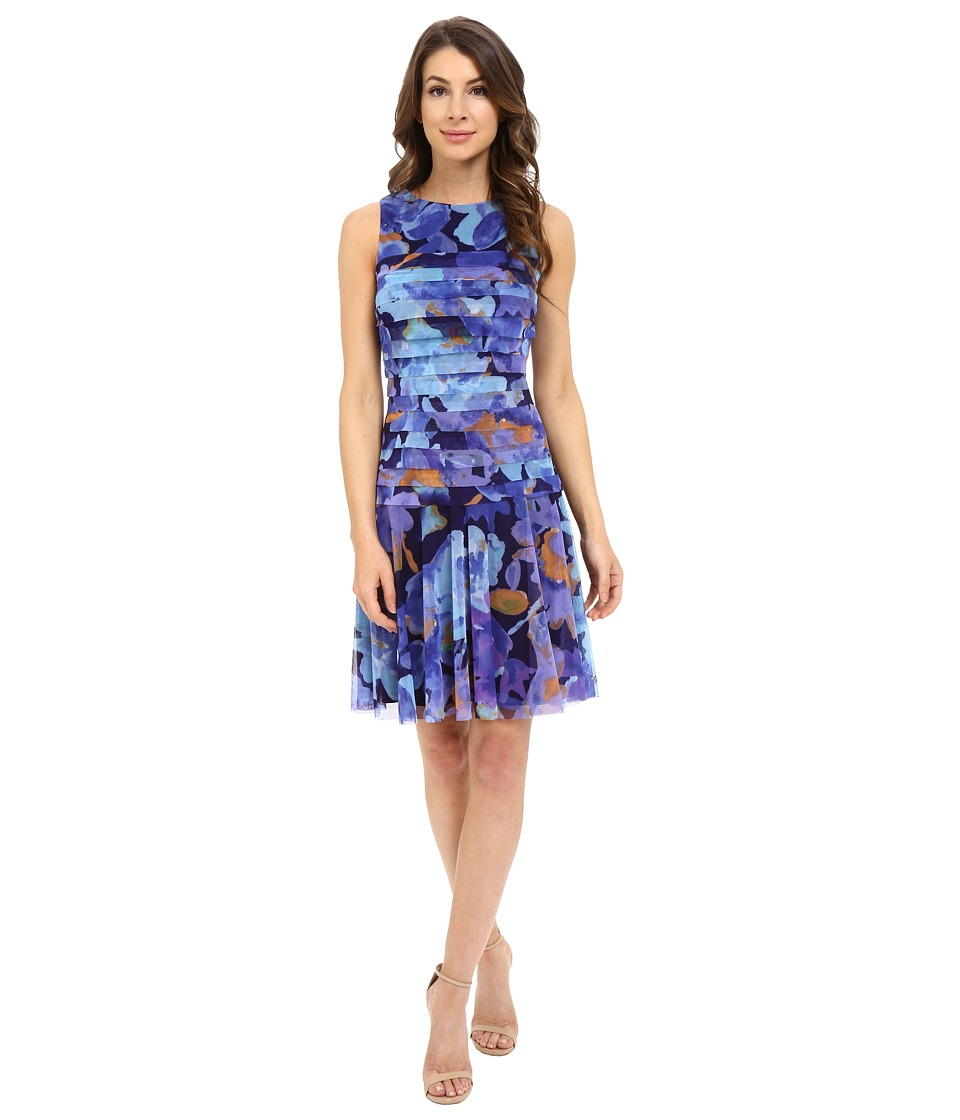 London Times - Shutter Dress with Drop Skirt (Blue) Women's Dress
