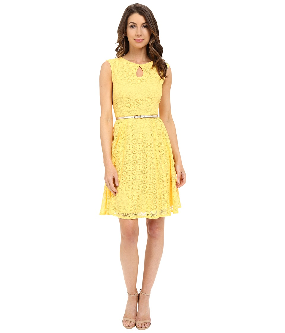 London Times - Cap Sleeve Keyhole Tie Fit Flare (Lemon Mist) Women
