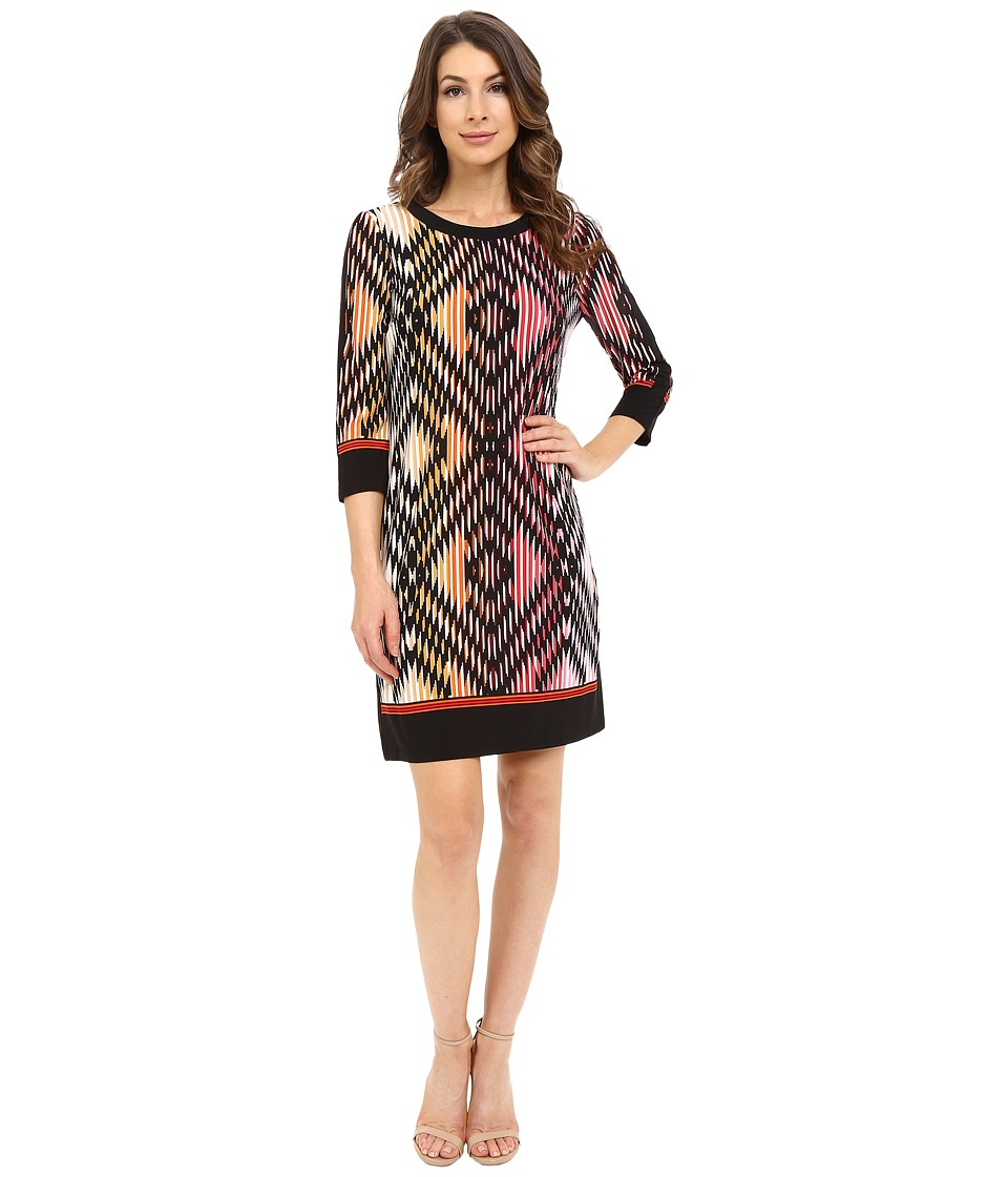 London Times - 3/4 Sleeve Solid Border Shift (Black/Pink) Women's Dress