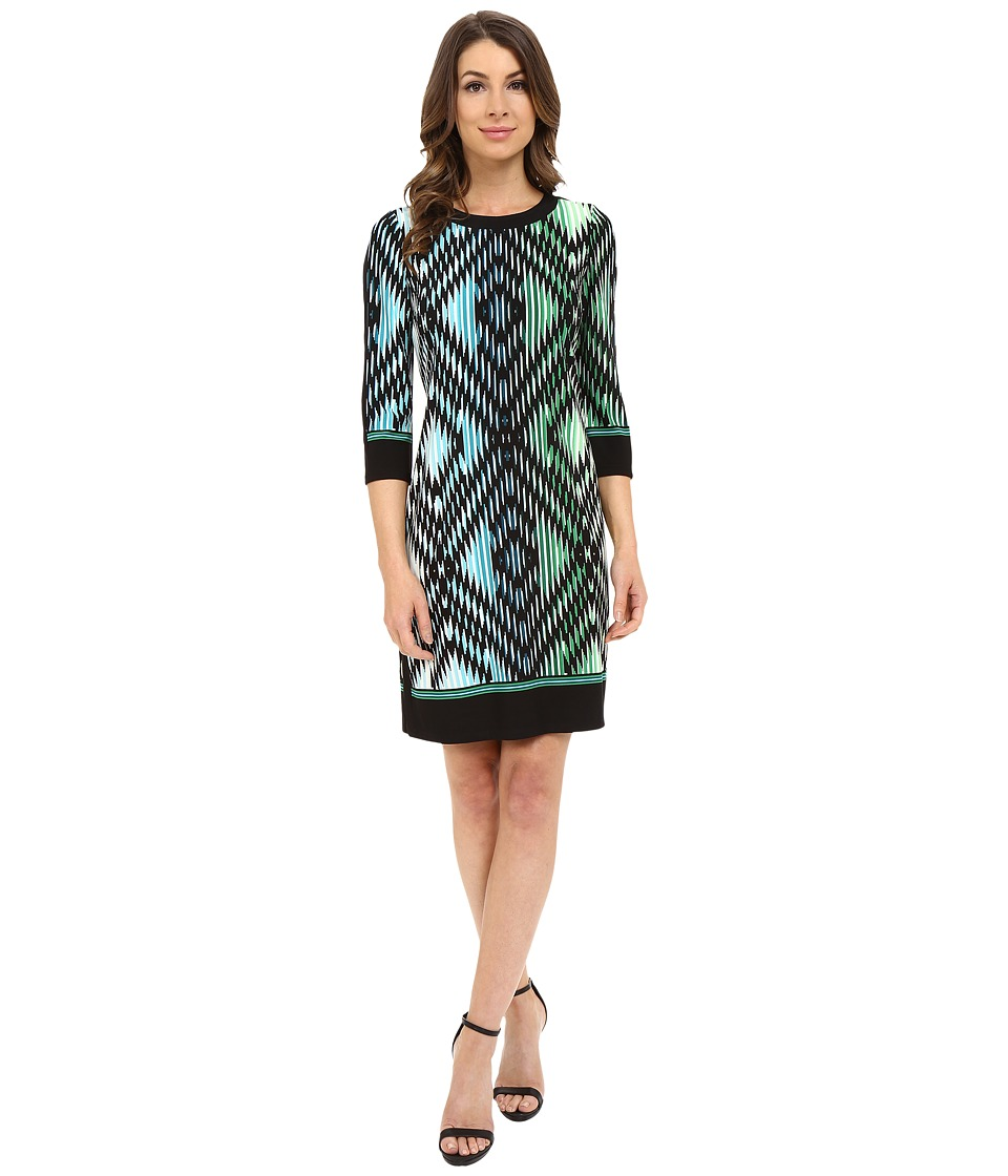 London Times - 3/4 Sleeve Solid Border Shift (Black/Green) Women's Dress