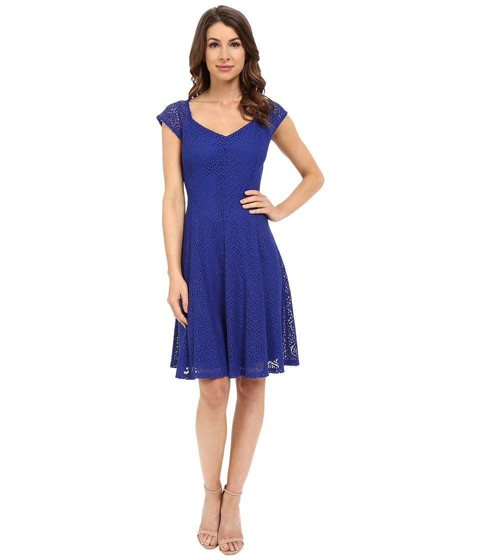 London Times - Cap Sleeve Lace Fit and Flare (Cobalt) Women's Dress