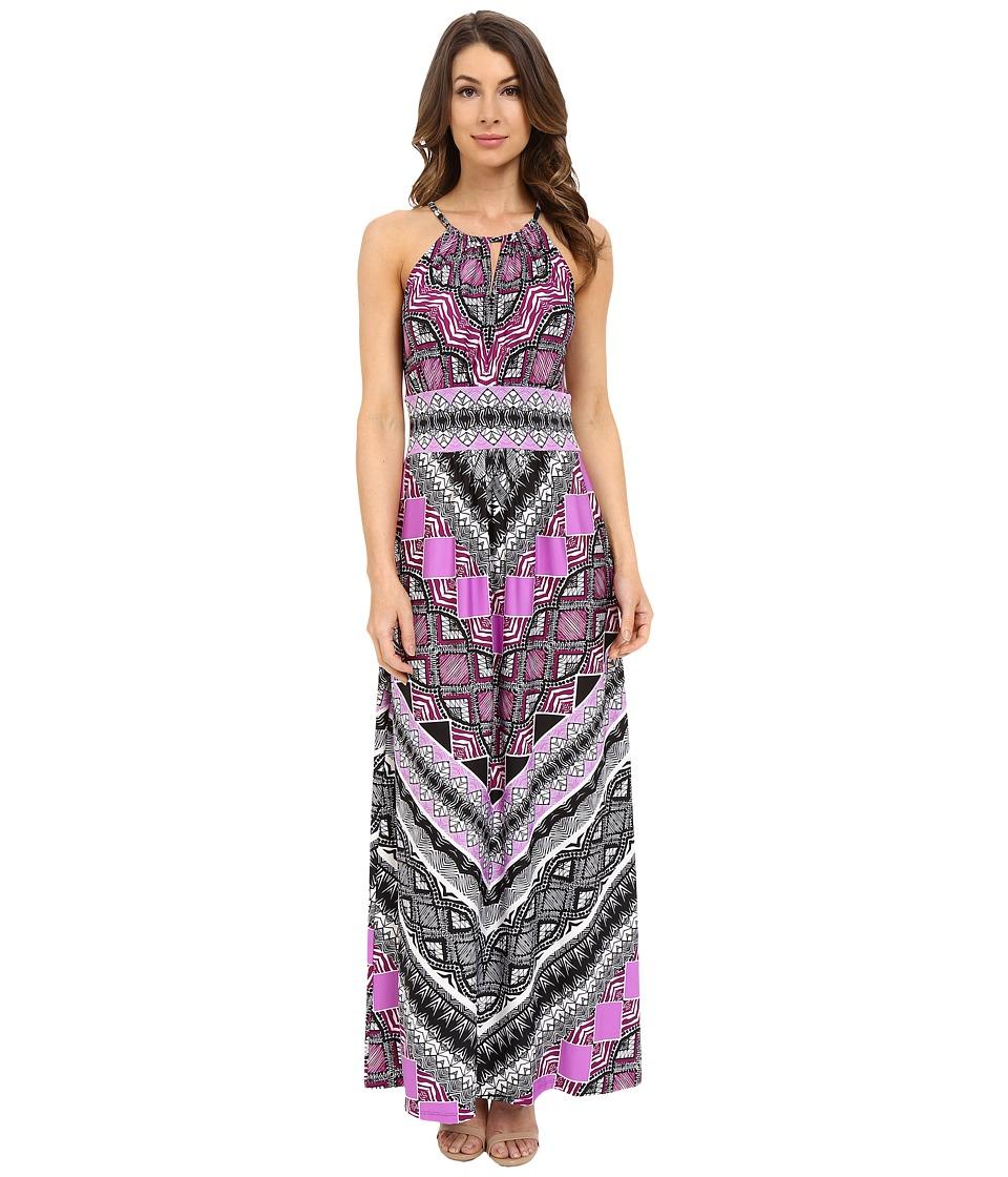 London Times - Sleeveless Keyhole Halter Maxi (Purple) Women's Dress