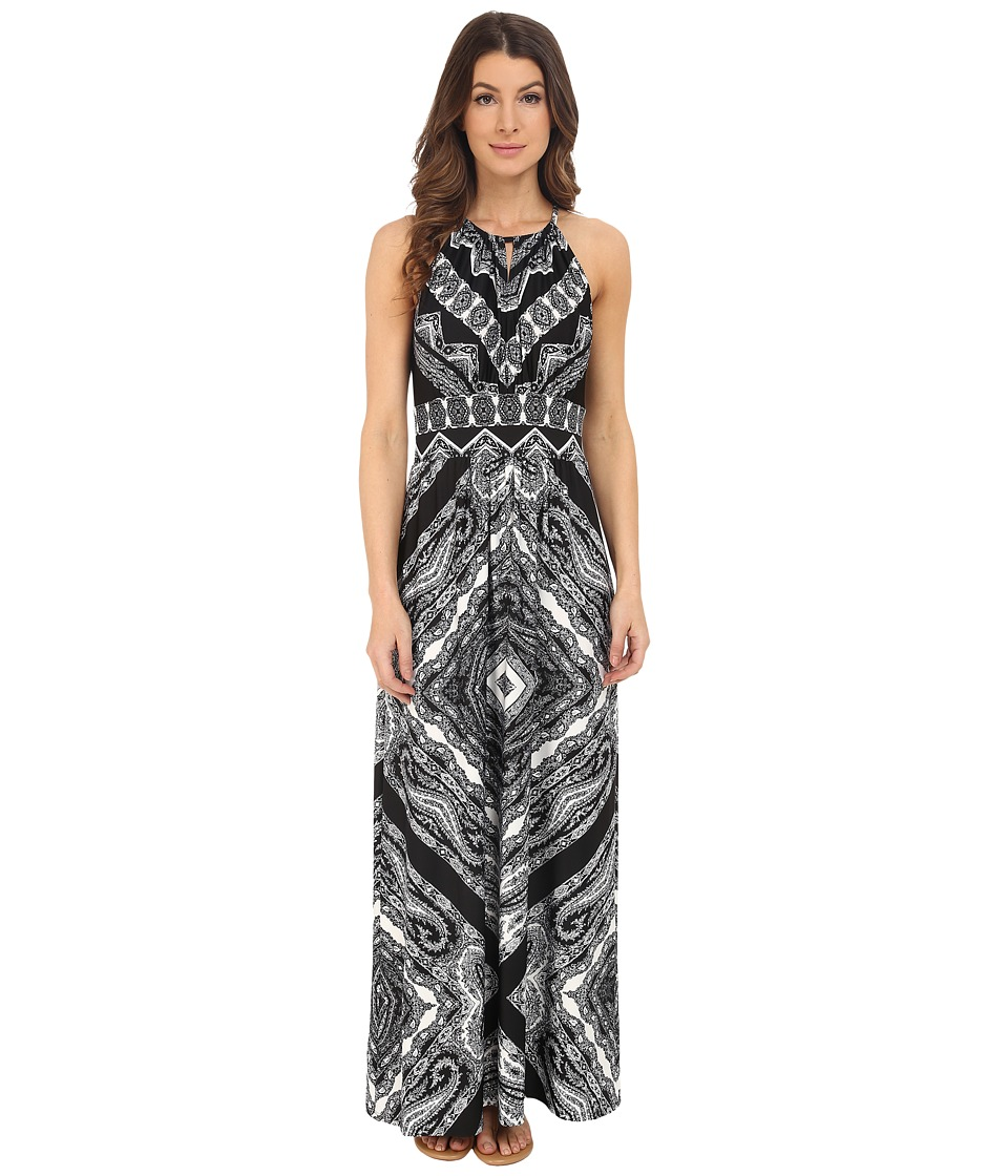 London Times - Sleeveless Keyhole Halter Printed Maxi (Black/White) Women's Dress
