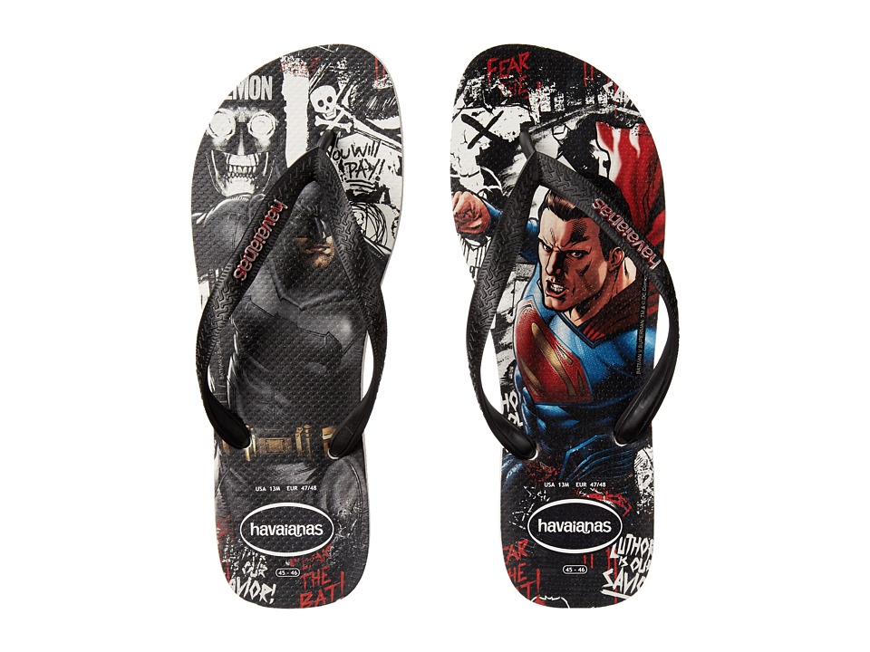 Havaianas - Top Batman V Superman Sandal (White/Black) Men's Sandals