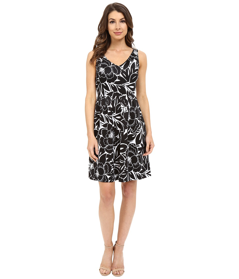 London Times - Flat Full Bloom Fit and Flare (White/Black) Women's Dress