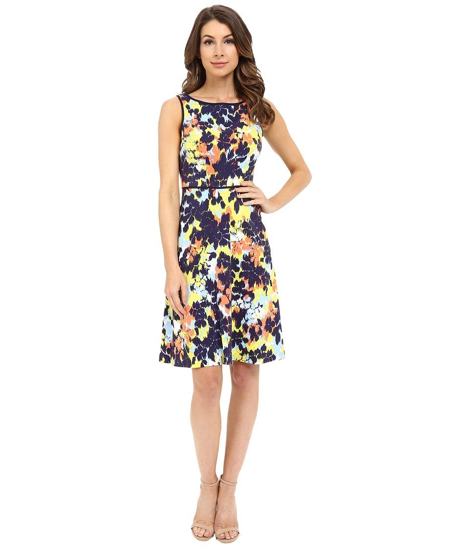 London Times - Ink Blot Posie Full Skirt (Blue Multi) Women's Dress