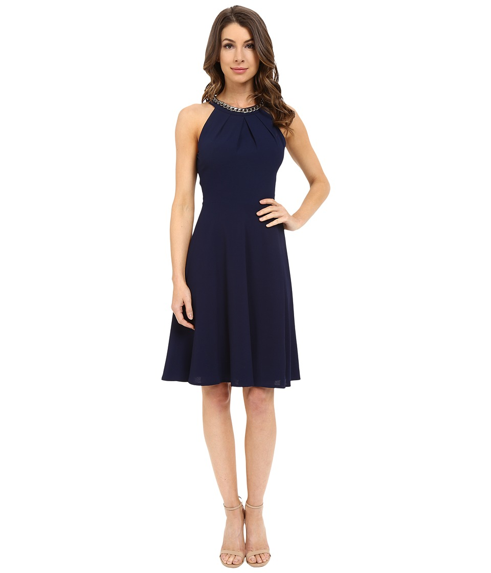 London Times - Peeble Crepe Chained Halter (Navy) Women's Dress