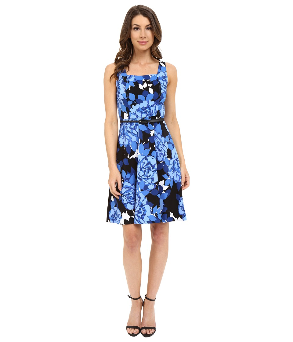 London Times - Cluster Rose Fit and Flare (Blue) Women's Dress