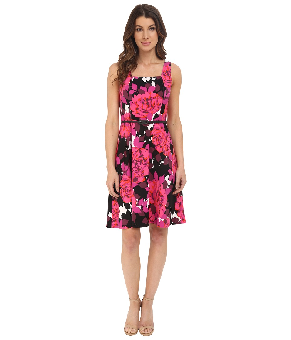 London Times - Cluster Rose Fit and Flare (Pink) Women's Dress