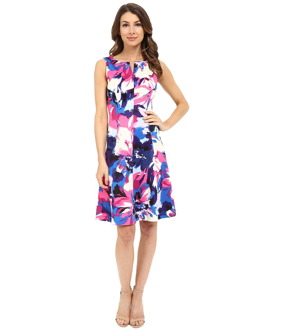 London Times - Spring Spray Scuba Fit Flare (Pink Multi) Women's Dress