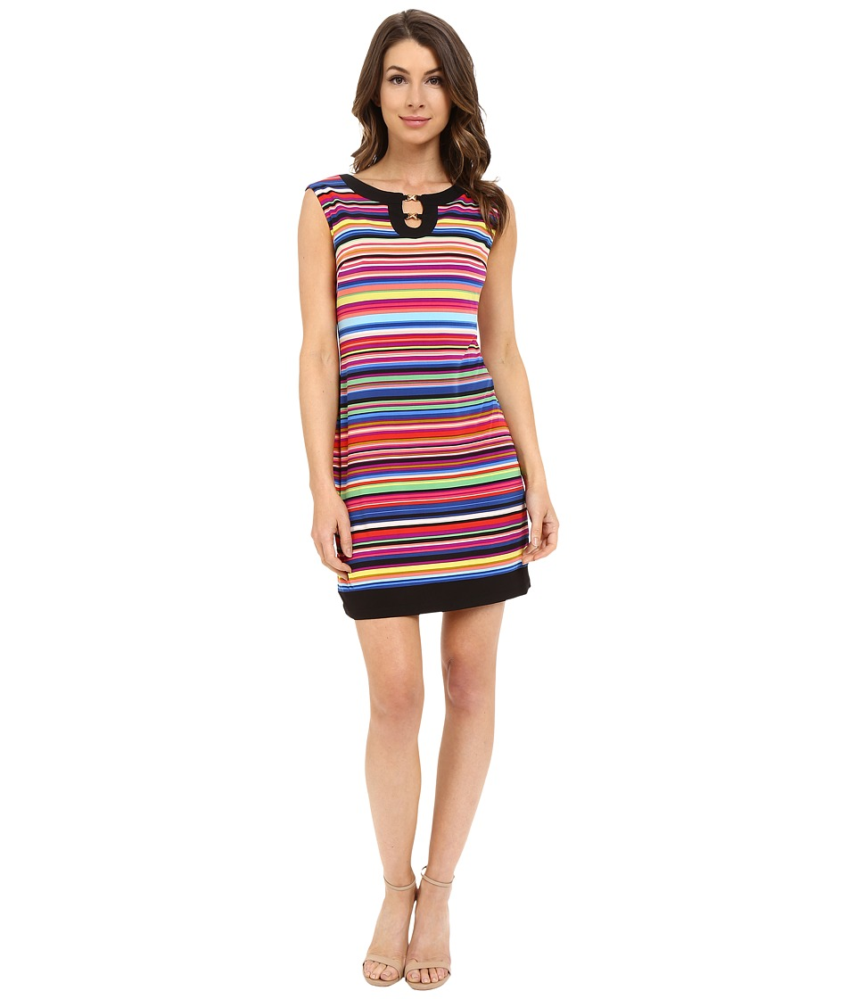 London Times - Jersey Crayon Stripe Shift (Multi) Women's Dress