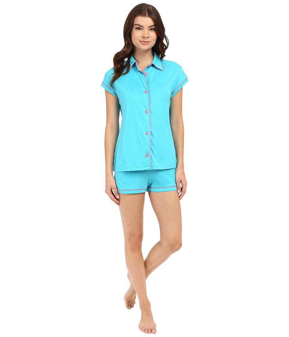 Cosabella - Bella Cap Sleeve Top Boxer Set (Blue Medium/Canyon Pink) Women's Pajama Sets