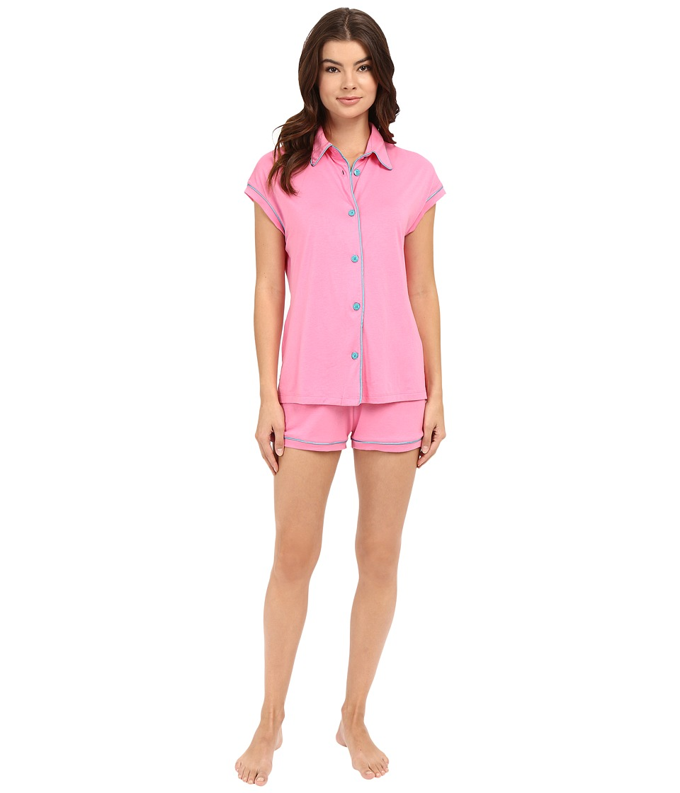 Cosabella - Bella Cap Sleeve Top Boxer Set (Canyon Pink/Blue Medium) Women's Pajama Sets
