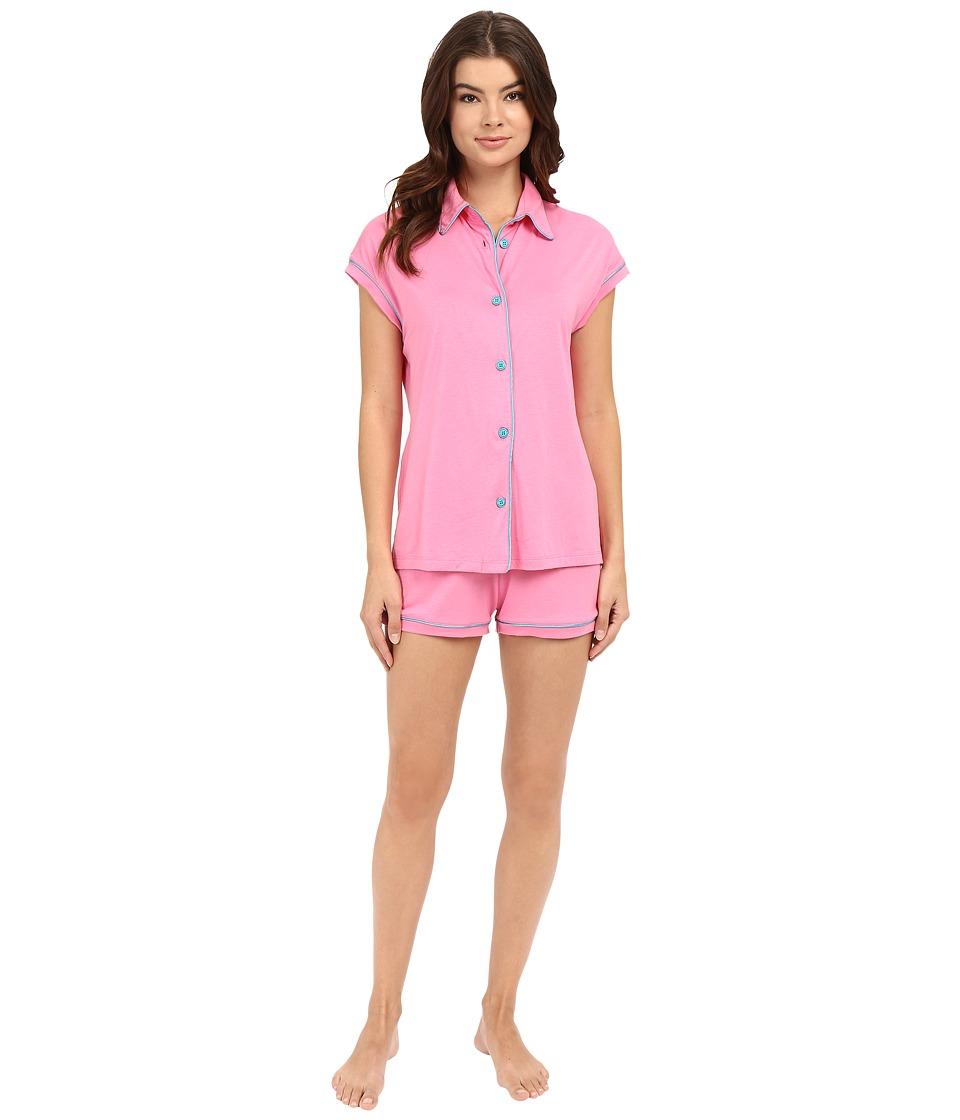 Cosabella - Bella Cap Sleeve Top Boxer Set (Canyon Pink/Blue Medium) Women's Pajama Sets