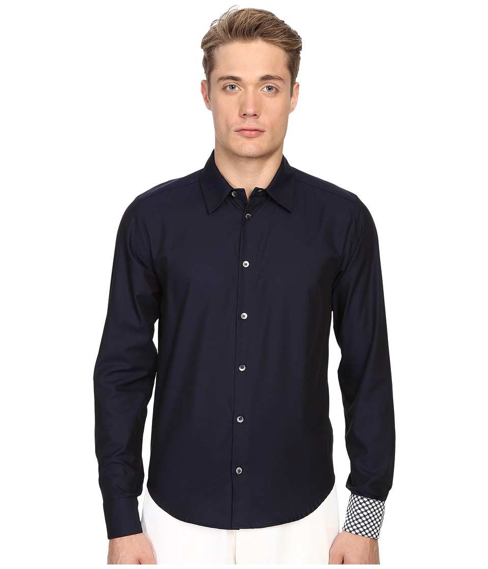 Mohsin - Floral Jacquard Walton Shirt (Navy) Men's Long Sleeve Button Up