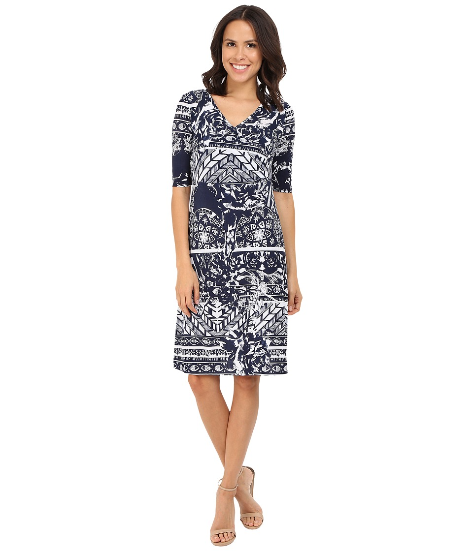 Christin Michaels - Tea Length 3/4 Sleeve Wrap Dress (Navy/White) Women's Dress
