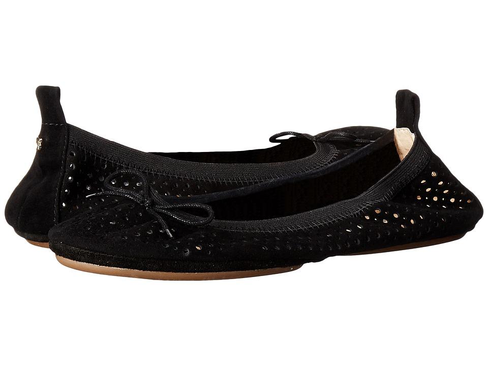 Yosi Samra - Sandrine Perforated Kid Suede (Black) Women's Flat Shoes