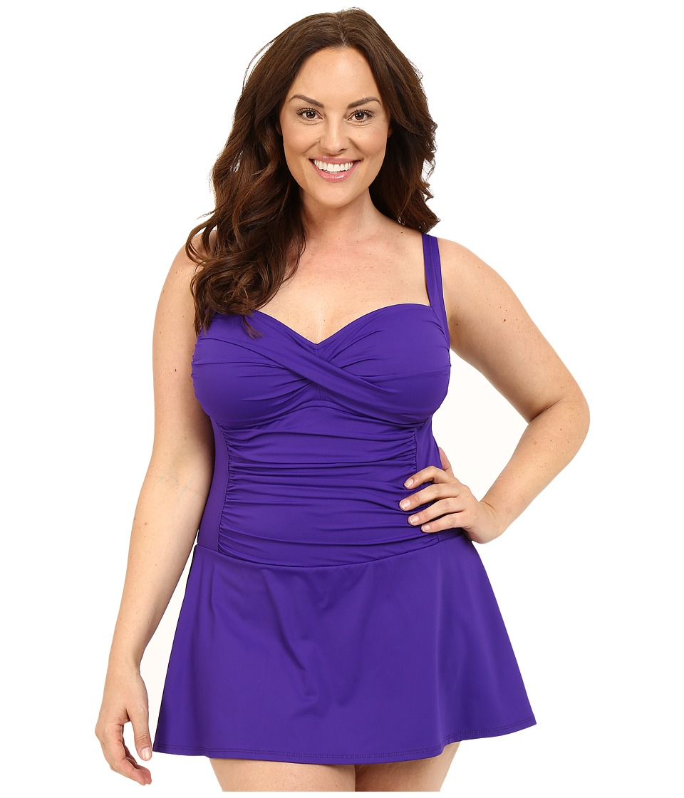 La Blanca - Plus Size Island Goddess Sweetheart Swimdress (Grape) Women's Swimwear