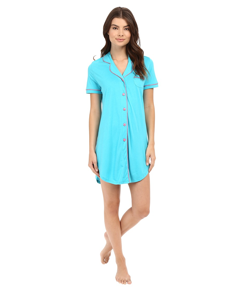 Cosabella - Bella Short Sleeve Night Shirt (Blue Medium/Canyon Pink) Women's Pajama