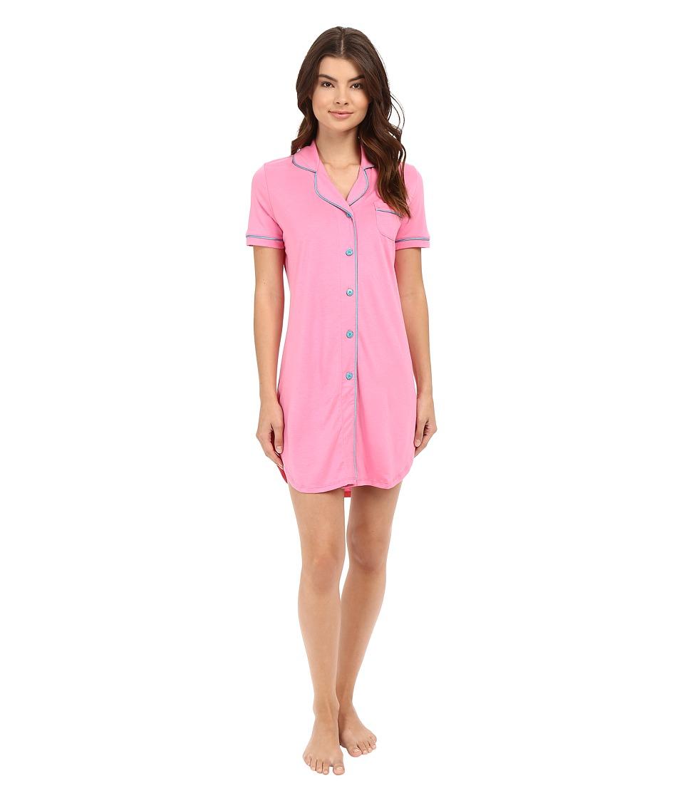 Cosabella - Bella Short Sleeve Night Shirt (Canyon Pink/Blue Medium) Women's Pajama