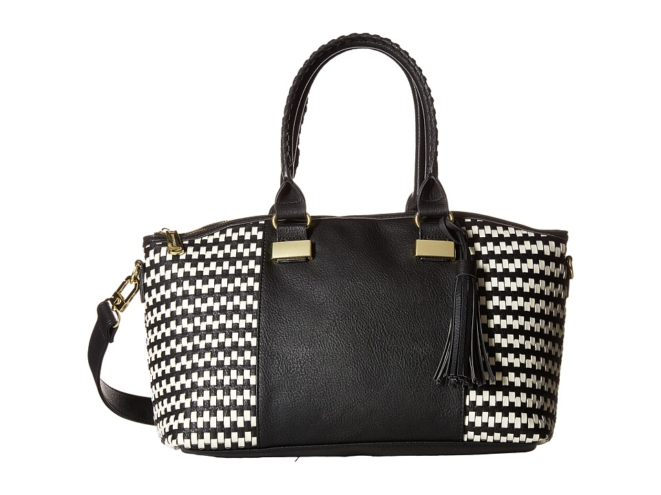 Steve Madden - Bwizz Woven Satchel (Black/White) Satchel Handbags
