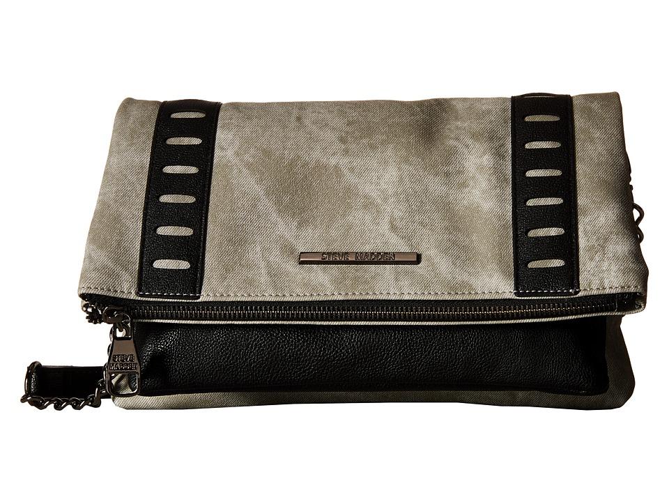 Steve Madden - Baddie2 Pebble Crossbody (Grey Denim/Black Gunmental) Cross Body Handbags