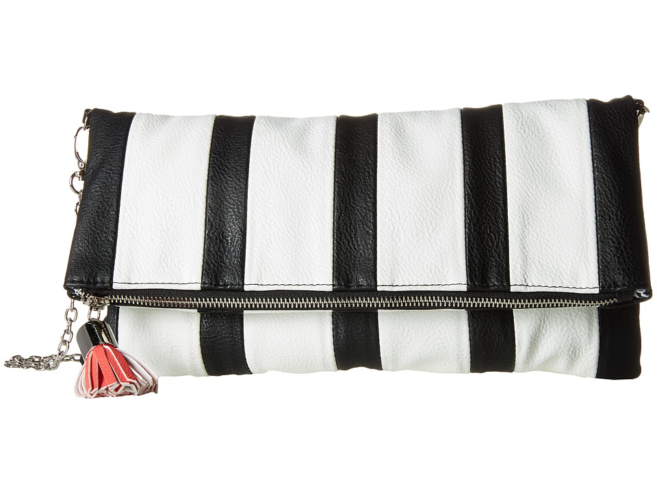 Steve Madden - Bsashaa Fold-Over (Black/White/Coral) Handbags