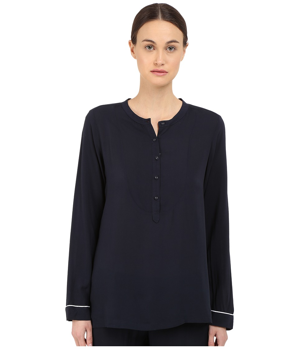 Emporio Armani - Fancy Javanese Long Sleeve Button Shirt (Marine) Women's Long Sleeve Button Up