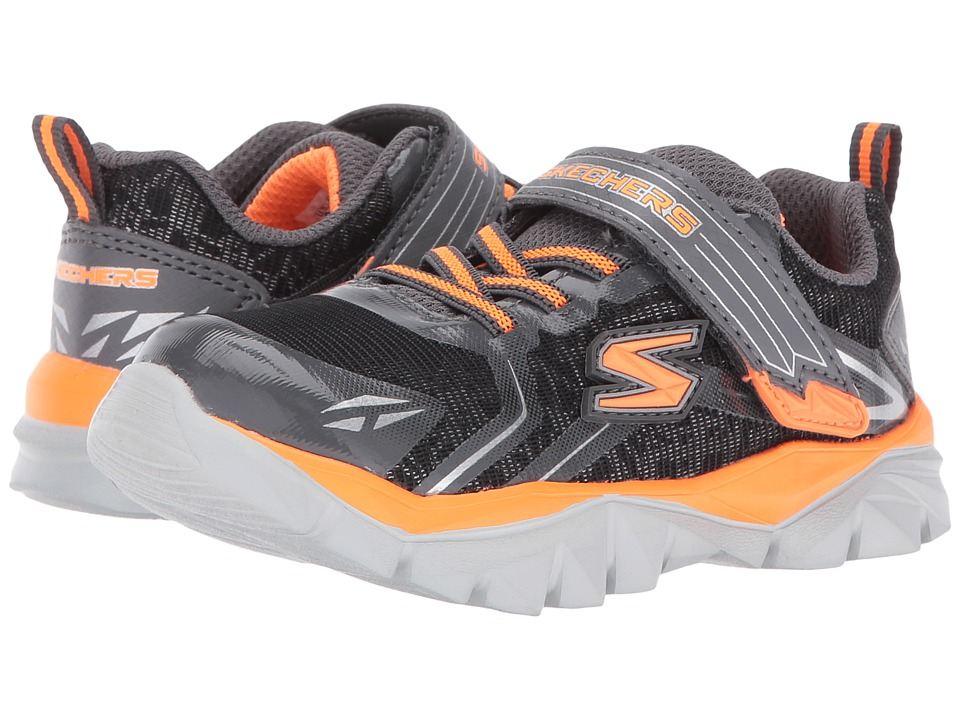 SKECHERS KIDS - Electronz Blazar (Toddler) (Black/Charcoal/Orange) Boy's Shoes