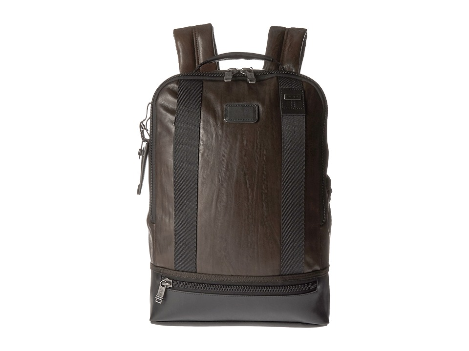 Tumi - Alpha Bravo - Dover Leather Backpack (Dark Brown) Backpack Bags