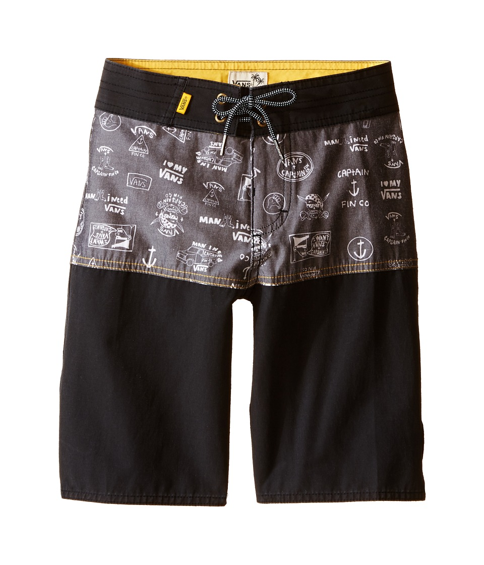 Vans Kids Middles Boardshorts (Little Kids/Big Kids) (Black (Captain Fin Co.)) Boy