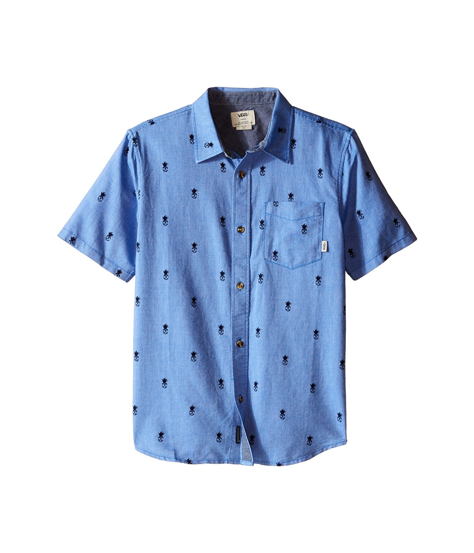 Vans Kids - Houser S/S (Big Kids) (Victoria Blue Forbidden Fruit) Boy's Short Sleeve Button Up