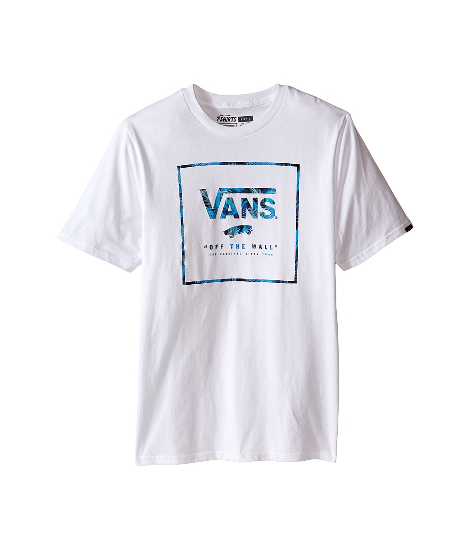 Vans Kids - Logo Box Fill (Big Kids) (White/Blueprint Acid Palm) Boy's T Shirt