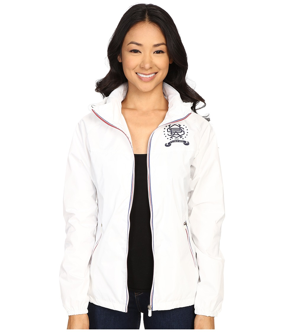 U.S. POLO ASSN. - Hooded Windbreaker Jacket (White) Women's Coat