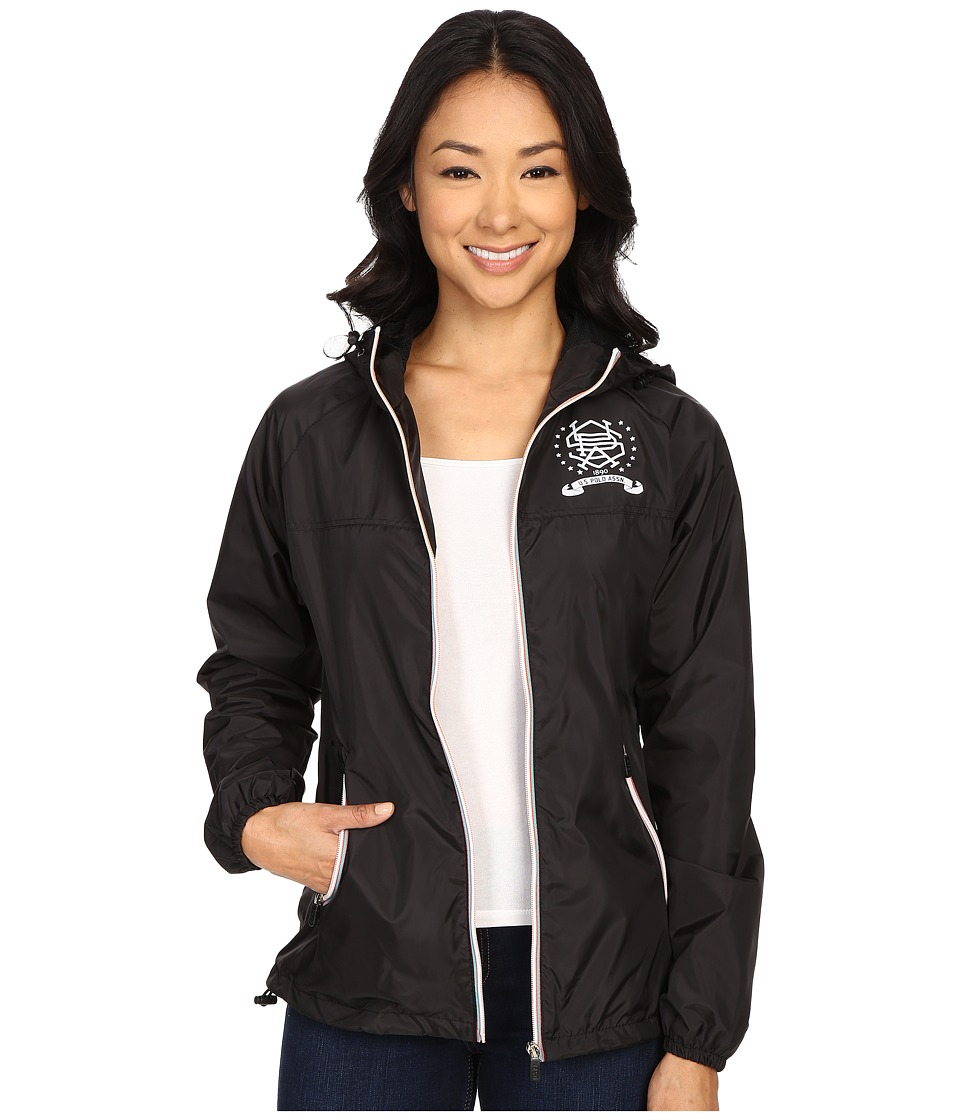 U.S. POLO ASSN. - Hooded Windbreaker Jacket (Black) Women's Coat