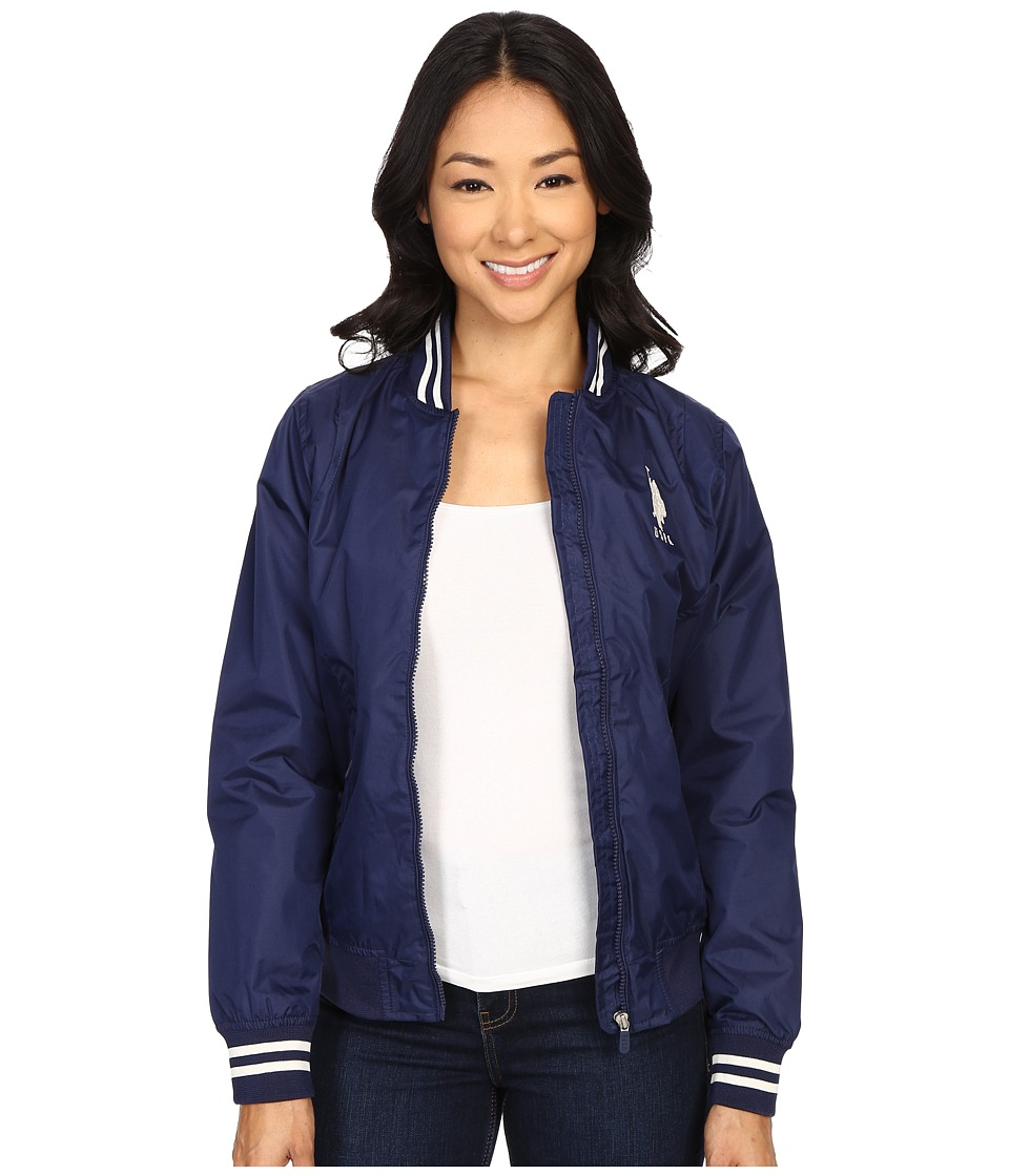 U.S. POLO ASSN. - Solid Jacket with Stripe Collar (Tribal Navy) Women's Coat