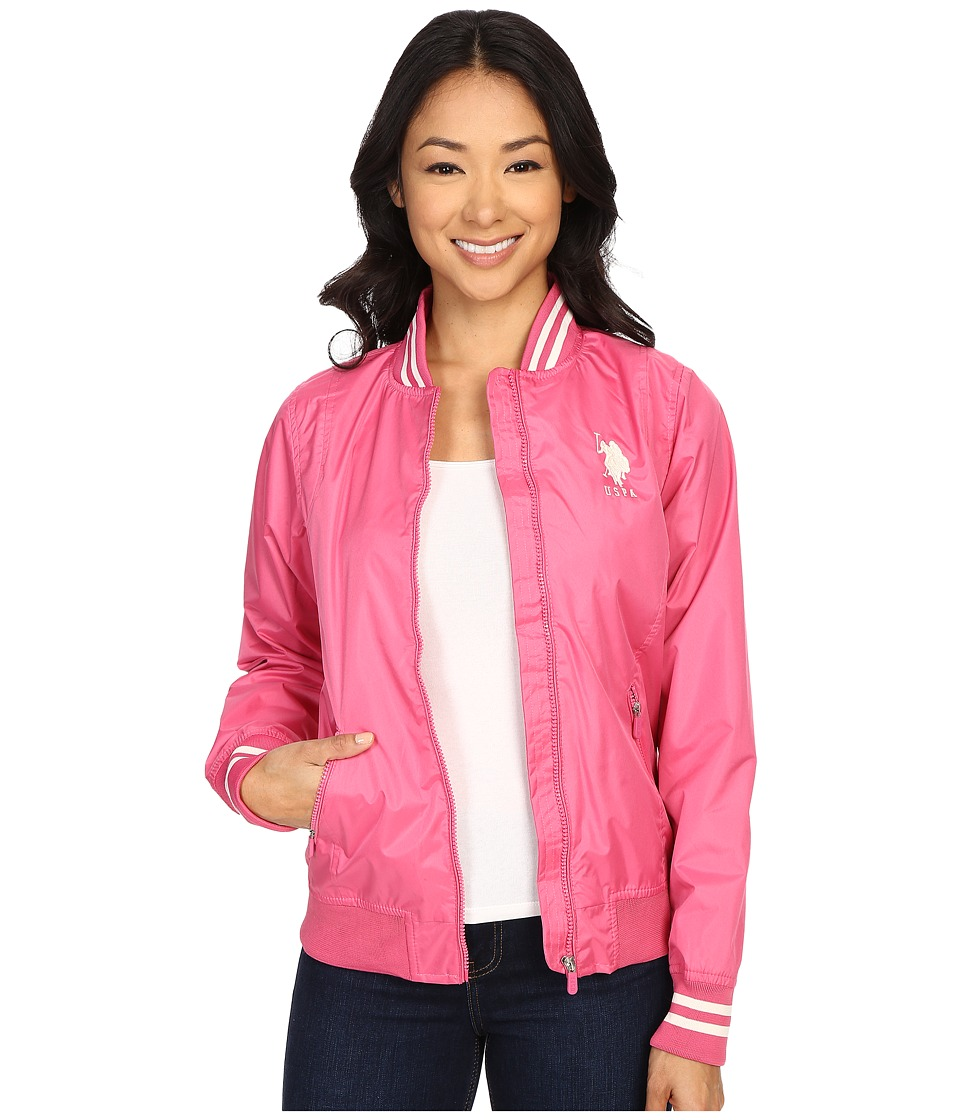 U.S. POLO ASSN. - Solid Jacket with Stripe Collar (Shocking Pink) Women's Coat