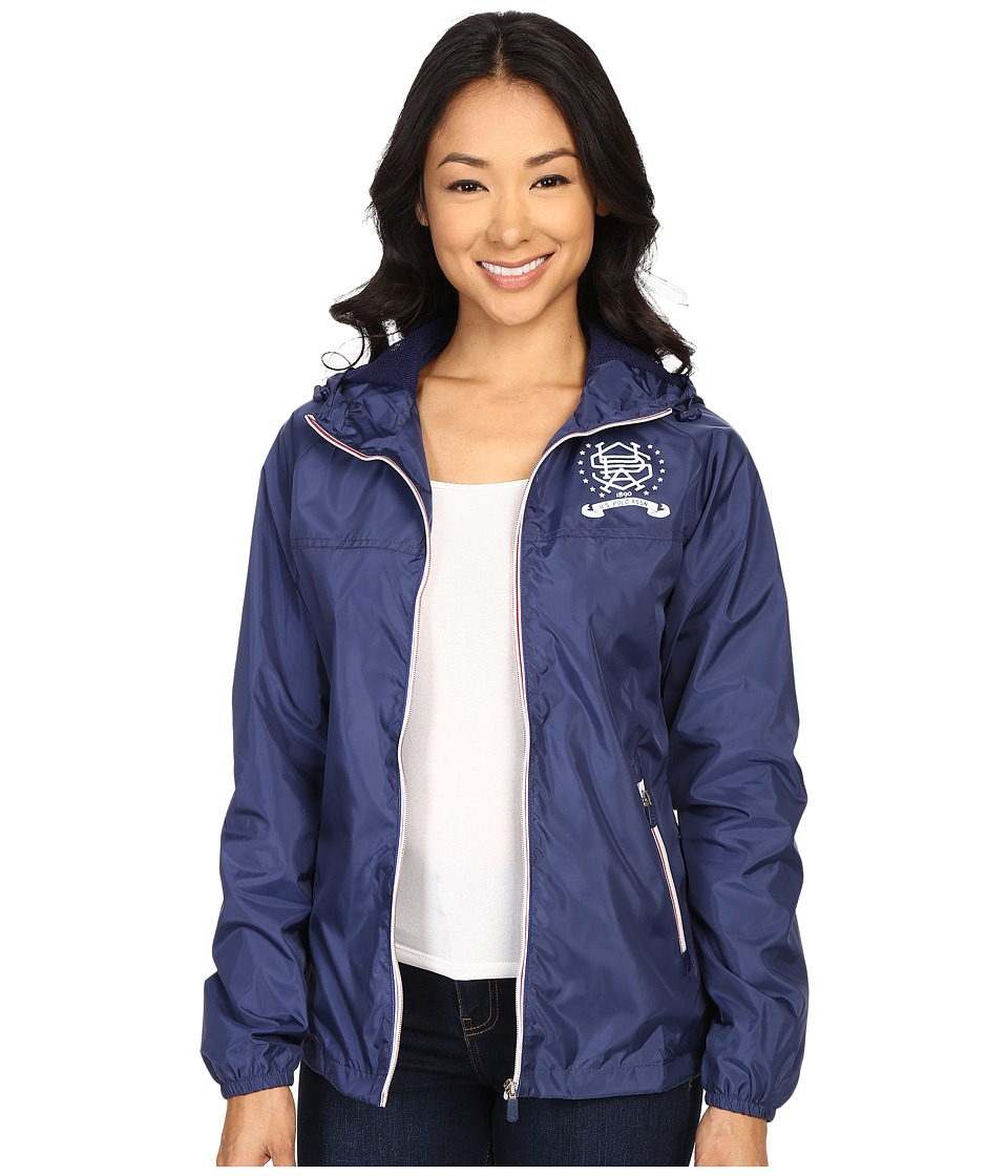 U.S. POLO ASSN. - Hooded Windbreaker Jacket (Tribal Navy) Women's Coat