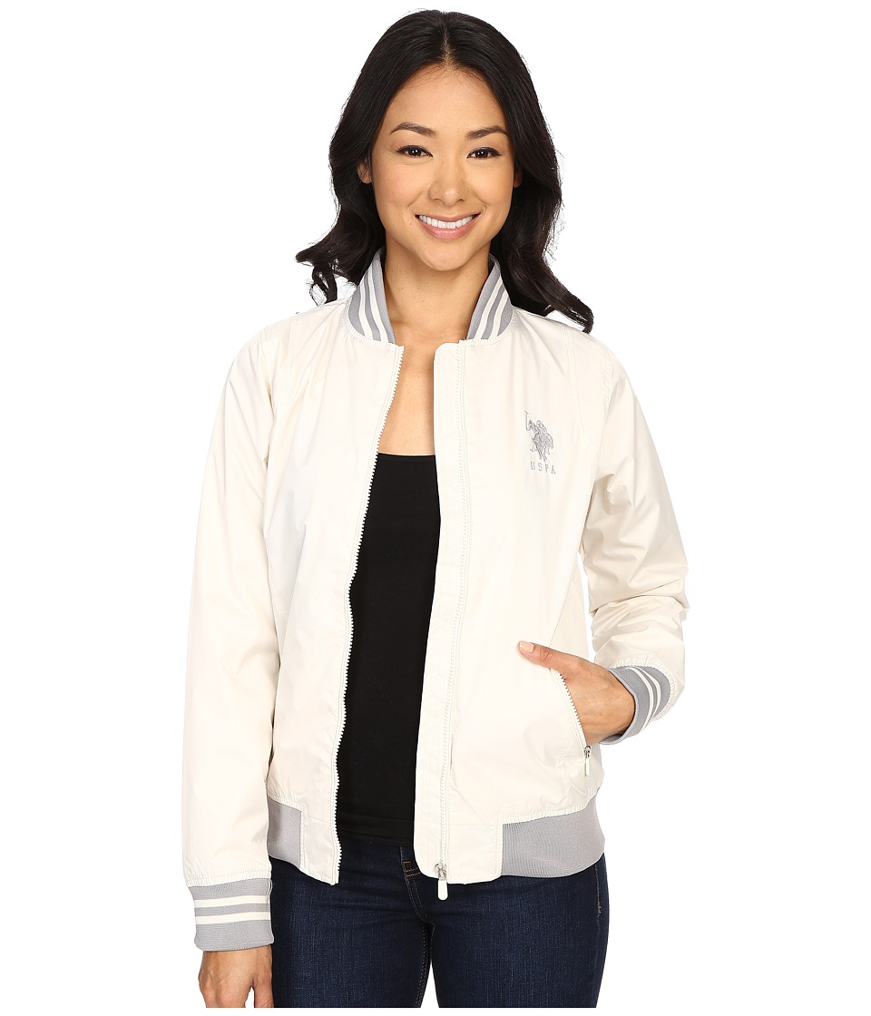 U.S. POLO ASSN. - Solid Jacket with Stripe Collar (Snow White) Women's Coat
