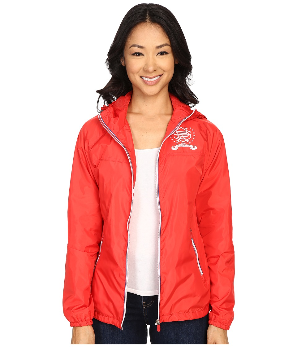 U.S. POLO ASSN. - Hooded Windbreaker Jacket (Tomato Red) Women's Coat