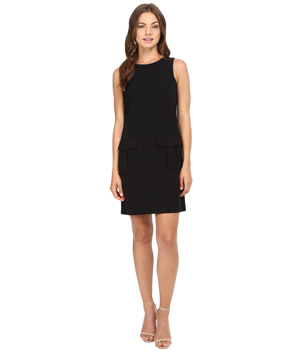 Donna Morgan - Sleeveless Crepe Dress w/ Pockets (Black) Women's Dress