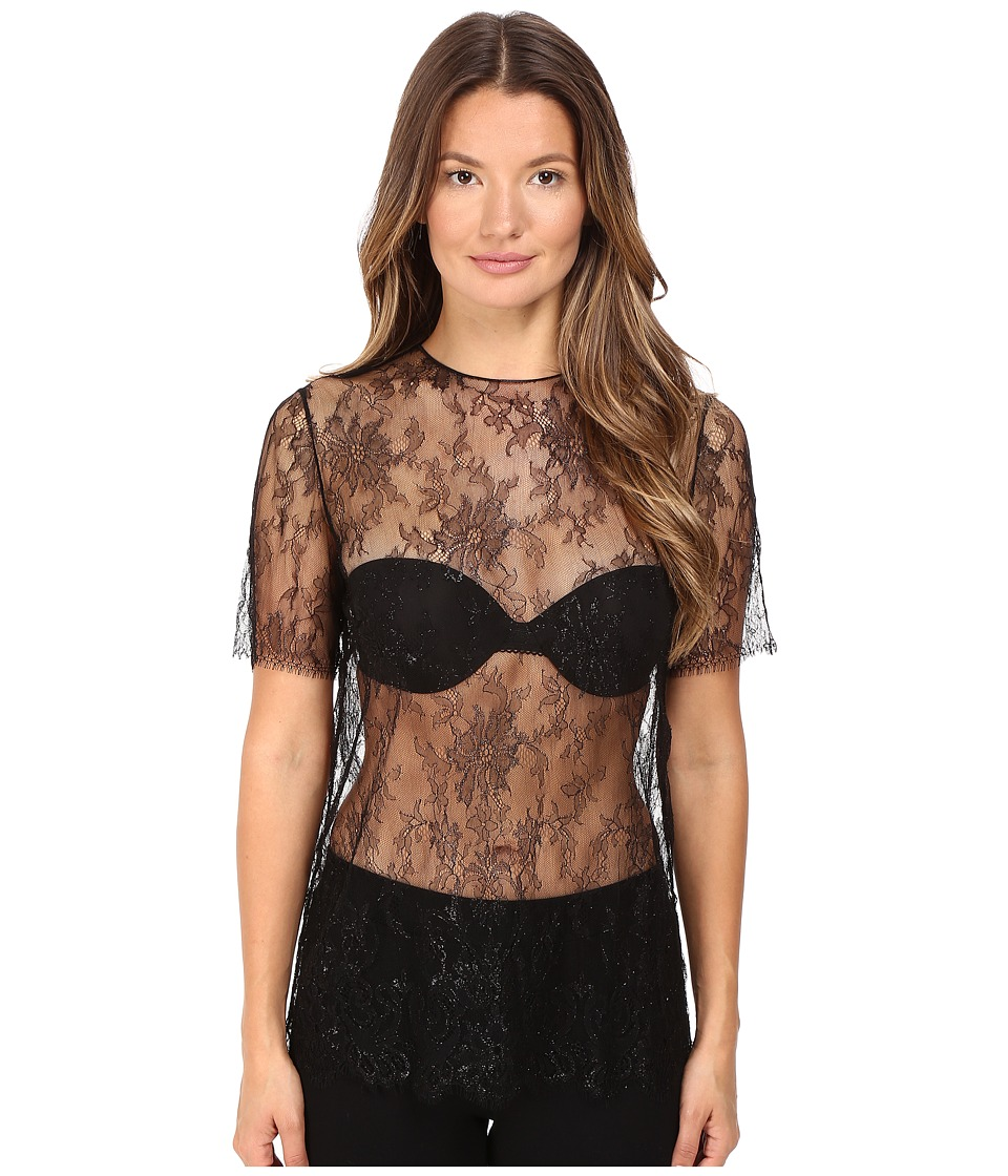 La Perla - Leisuring Lace Tee (Black) Women's Pajama