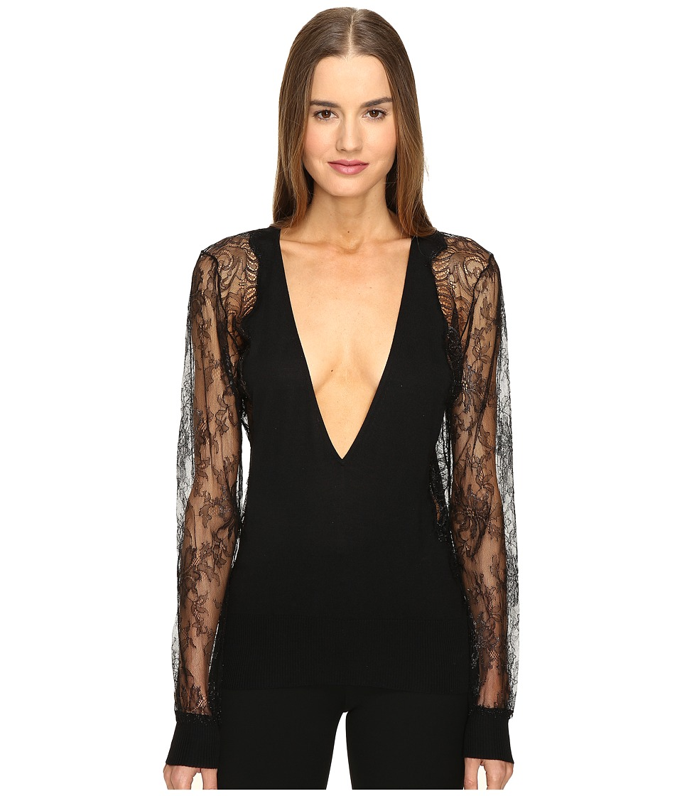 La Perla - Leisuring Top w/ Lace Sleeves (Black) Women's Pajama