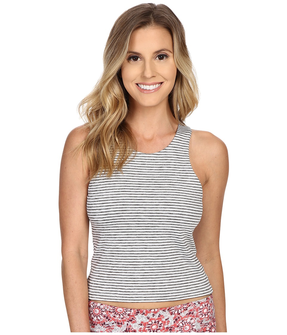 Manduka - Polarity Crop Top (Grey/White Stripe) Women's Clothing