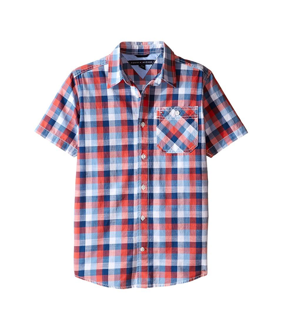 Tommy Hilfiger Kids - Wolfred Short Sleeve Woven Shirt (Big Kids) (White) Boy's Short Sleeve Button Up